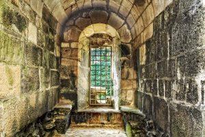 Kasteel Hunaudaye; kasteel Bretagne; raam kasteel