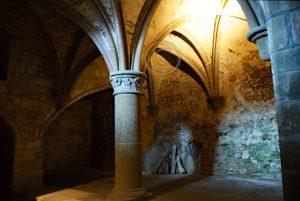 Oud gedeelte Le Mont-Saint-Michel; eiland Normandie; abdij Frankrijk