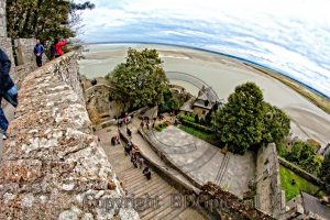 view from Le Mont-Saint-Michel; stairs Le Mont-Saint-Michel; abbey France; island Normandy